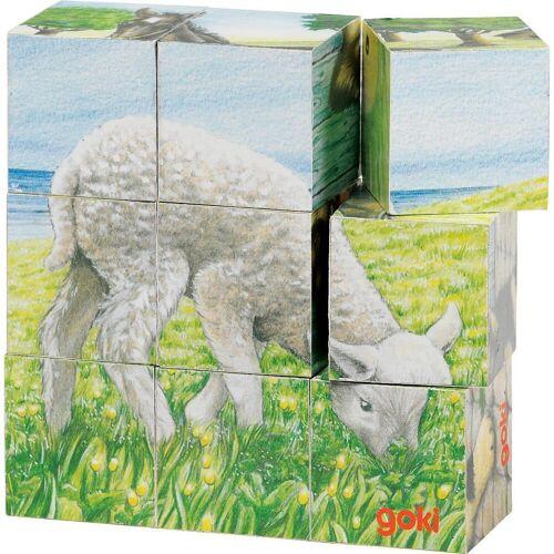 goki Würfelpuzzle »Würfelpuzzle Bauernhoftiere«, Puzzleteile