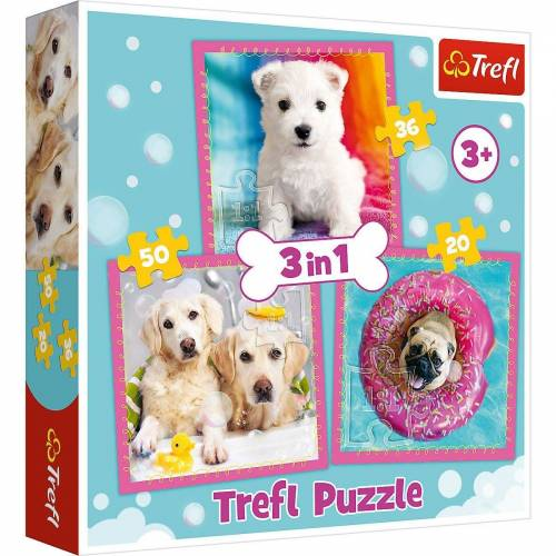 Trefl Puzzle »Puzzle 3 in 1 - Dogs in the bath«, Puzzleteile
