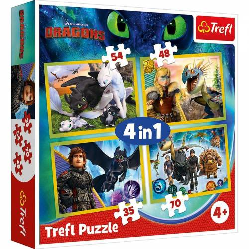 Trefl Puzzle »Puzzle 4 in 1 - Universal How to Train Your Dragon«, Puzzleteile
