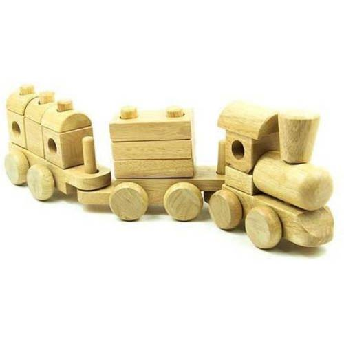 LeNoSa Steckspielzeug »Lokomotive Natur • Holz Stapelzug 18tlg.• Eisenbahn 46 cm mit 2 Waggons«, (18-tlg)