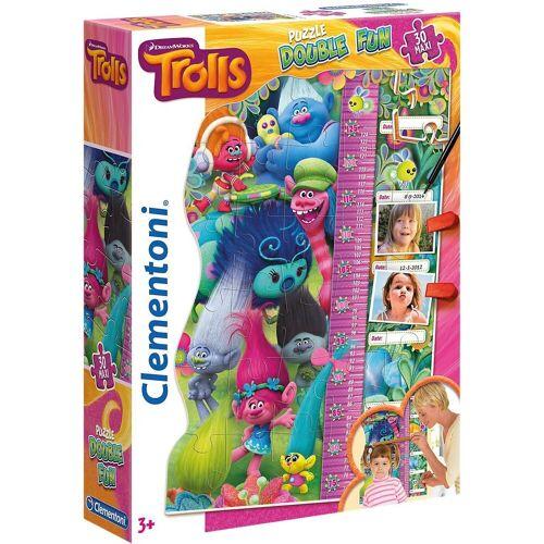 Clementoni® Puzzle »Double Fun Puzzle als Messlatte 30 Teile - Trolls«, Puzzleteile