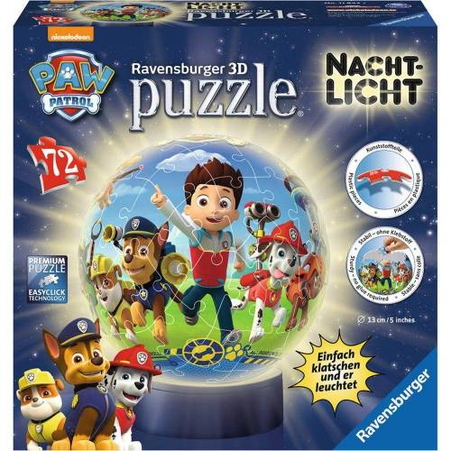 Ravensburger 3D-Puzzle »Paw Patrol - Puzzle-Ball, Nachtlicht«, 72 Puzzleteile