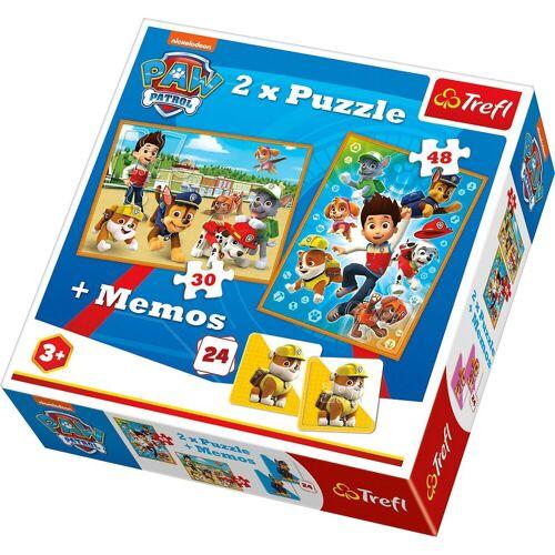 Trefl Puzzle »2x Puzzle 30/48 Teile + Memo - Paw Patrol«, Puzzleteile