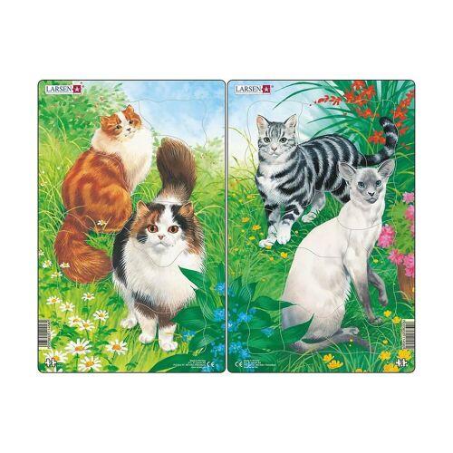 Larsen Puzzle »2er-Set Rahmen-Puzzle, 10 Teile, 28x18 cm, Katzen«, Puzzleteile