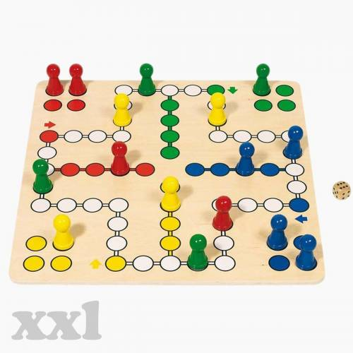 goki Spiel, »XXL Brettspiel Ludo 5«, Leicht zu greifende Spielfiguren auf einem überdimensionalen Spielbrett