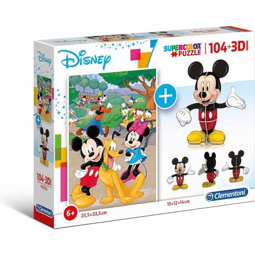 Clementoni® Puzzle »Puzzle 104 Teile + 3D Modell - Disney Mickey Mouse«, Puzzleteile