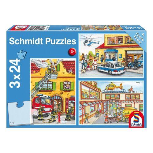 Schmidt Spiele Puzzle »Rettungskräfte Feuerwehr und Polizei 3x24 Teile«, 72 Puzzleteile