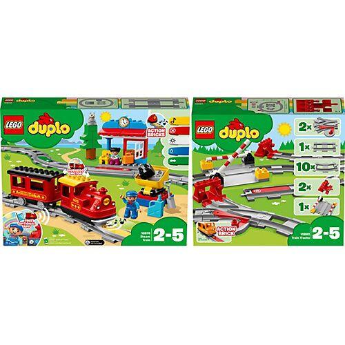 LEGO Bundle LEGO® DUPLO® 10874 Dampfeisenbahn + 10882 Eisenbahn Schienen