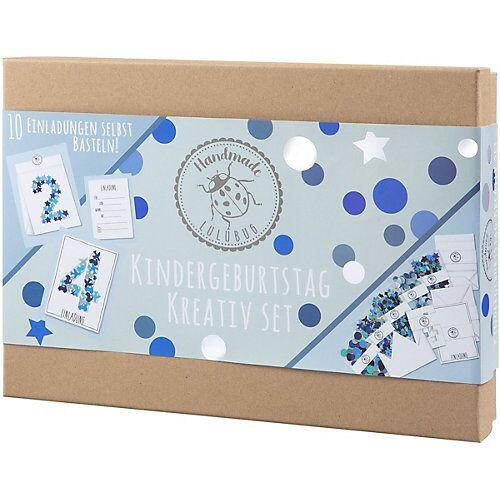 Lulubug Handmade Kindergeburtstag Einladungskarten, Kreativ-Set, blau, 10 Stück