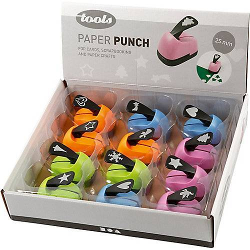 Papierstanzer in einem Karton, Größe 25 mm, Weihnachtsmotive, 12 Stück sortiert