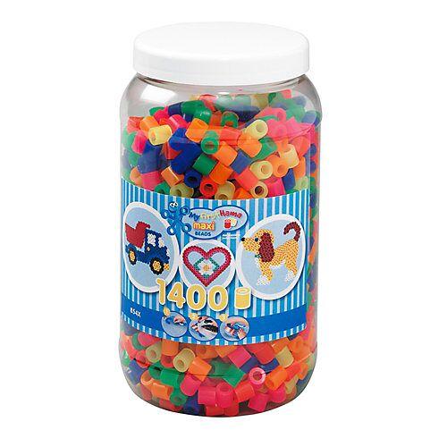hama Bügelperlen Maxi - Neon Mix 1400 Perlen (6 Farben) in Aufbewahrungsdose mehrfarbig