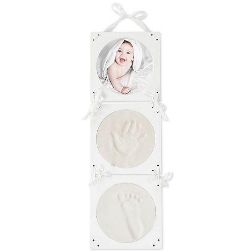bieco Gipsabdruck Bilderrahmen Komplettset Gipsabdruck Hand und Fuß im 3D Bilderrahmen weiß