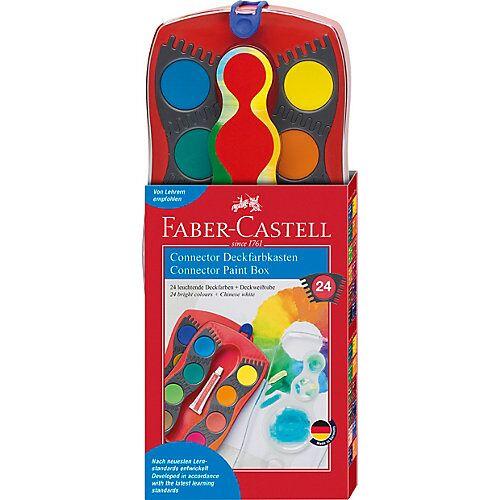 Faber-Castell CONNECTOR Deckfarbkasten, 24 Farben, inkl. Deckweiß