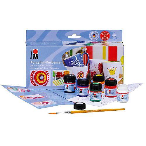 Marabu Starterset Porzellanfarbe, 6 x 15 ml + Pinsel