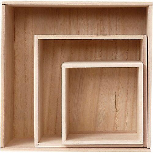 Holzkasten-Set, H 15+21,5+28 cm, B 15+21,5+28 cm, 3 Stck., Kaiserbaum