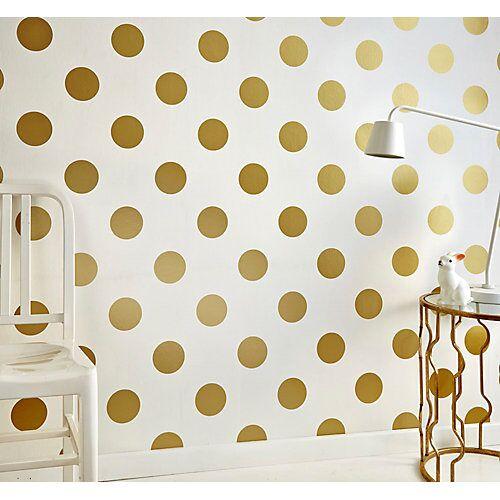 Decofun Tapete Punkte goldfarbig, 10 m x 53 cm
