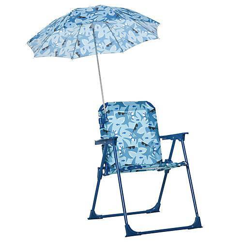 Outsunny Kinder-Campingstuhl mit Sonnenschirm blau