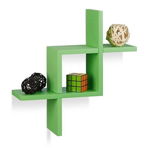 relaxdays Wandregal mit 4 Ablagen, 40 x 40,5 x 12 cm grün