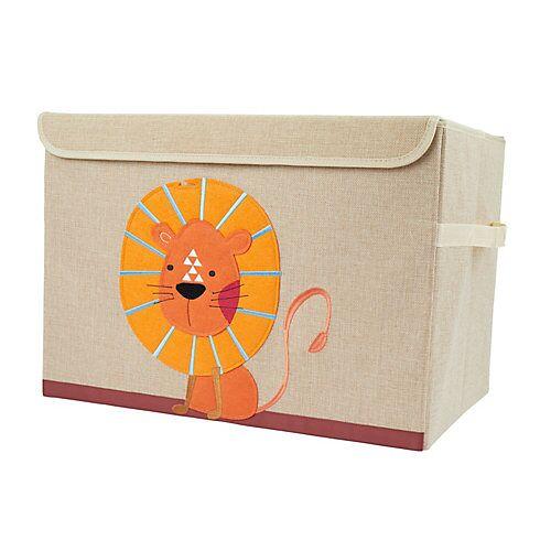 bieco Aufbewahrungsbox mit Deckel Kinder Spielzeugkiste 65 L faltbar Staubox Stoffbox Aufbewahrungsboxen gelb