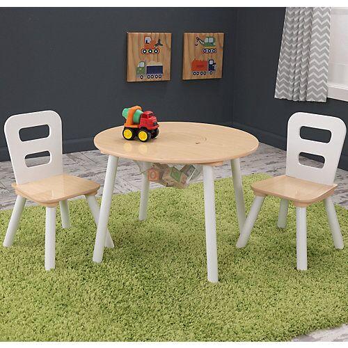 KidKraft Kindersitzgruppe Round 3-tlg, mit Aufbewahrungsnetz, weiß holzfarben