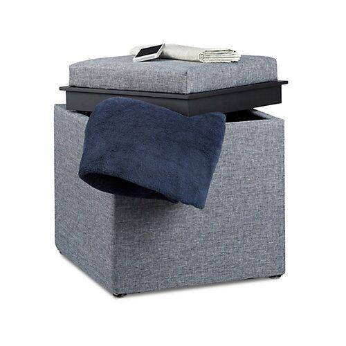 relaxdays Sitzhocker mit Stauraum grau