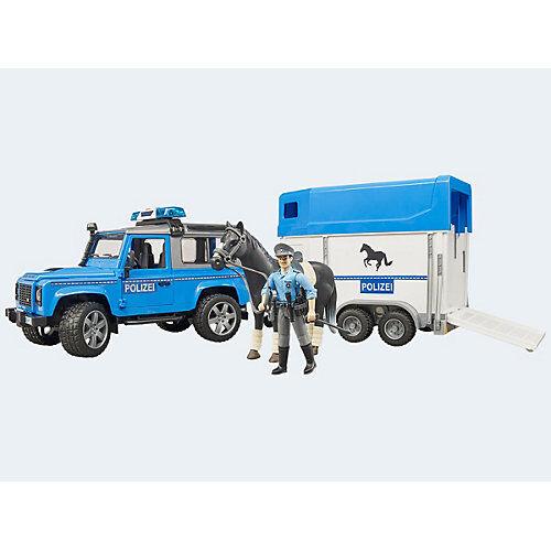 Bruder Land Rover Defender Polizei mit Pferdeanhänger und Pferd und Polizist