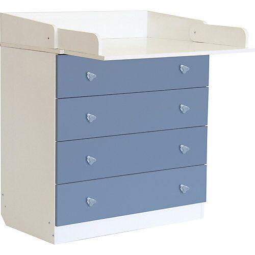 Polini-kids Wickelkommode Simple 1580, weiß - blau, 1288.17 blau/weiß
