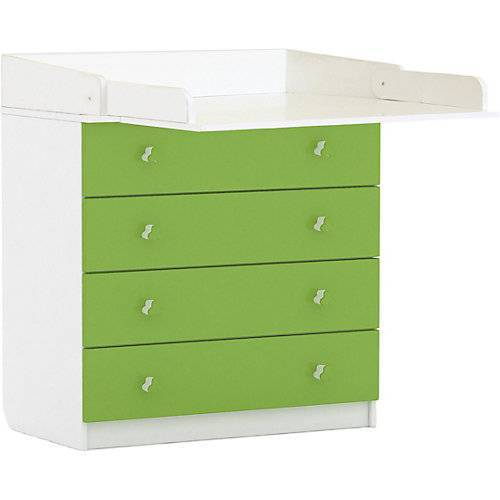 Polini-kids Wickelkommode Simple 1580, weiß - grün, 1288.6 grün/weiß