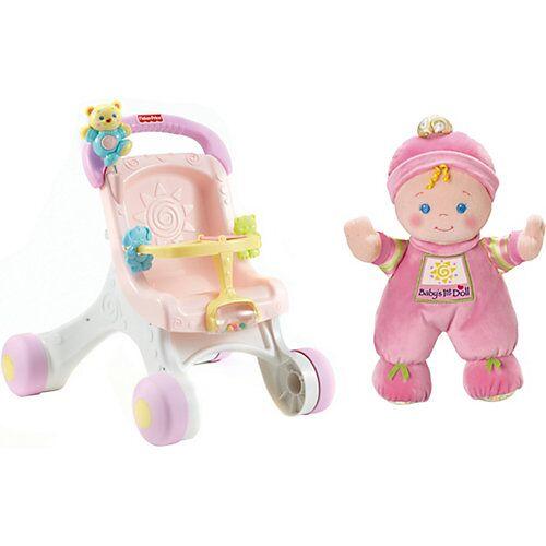 Mattel Fisher-Price Lauflern- und Puppenwagen inkl. Meine erste Puppe, 20 cm pink