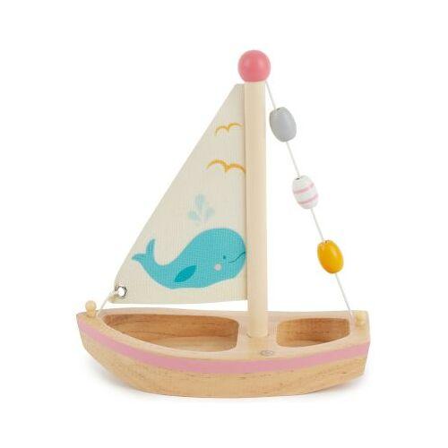 bieco Kinder Boot Spielzeug Holz 20x18 cm Badewannenspielzeug Wasserspielzeug Badespaß Badespielzeug weiß