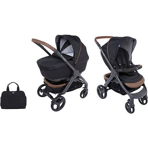CHICCO Kombi Kinderwagen Duo Stylego Up Crossover Wheels, Pure Black schwarz
