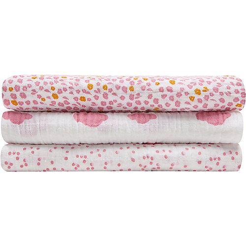 Zöllner Mulltücher, Wolke rosa, 3er Set, 120 x 120 cm