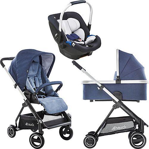 Hauck Kombi Kinderwagen Apollo inkl. Babyschale iPro Baby, 3 in 1, Denim blau