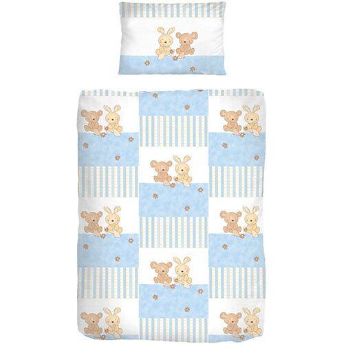 Kinderbettwäsche Häschen, Biber, blau, 100 x 135 cm