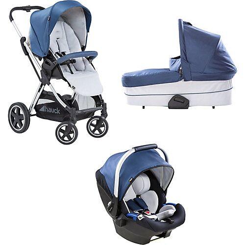 Hauck Kombi Kinderwagen Mars inkl. Babyschale iPro Baby , Denim/Silver