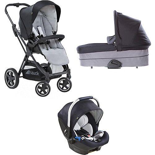 Hauck Kombi Kinderwagen Mars inkl. Babyschale iPro Baby , Caviar/Stone