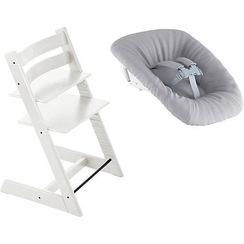 Stokke Tripp Trapp® Hochstuhl, Classic Collection, White inkl. Tripp Trapp® Newborn Set™ Schale, Grey weiß