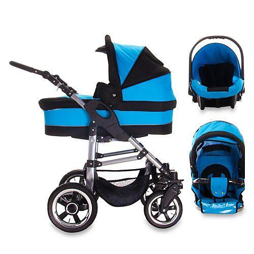 Bebebi London   3 in 1 Kinderwagen Set   Hartgummireifen schwarz/blau