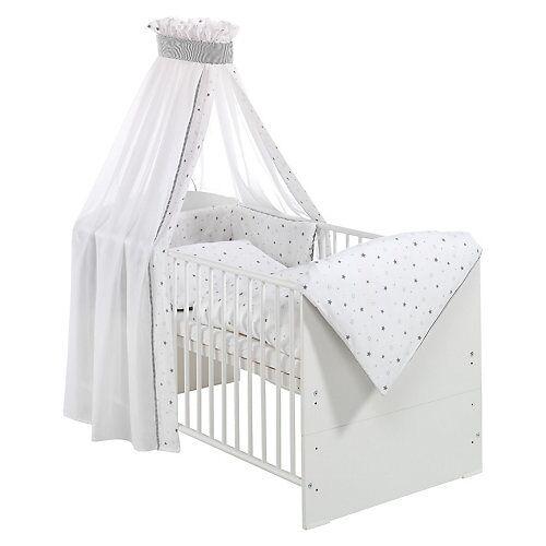 Schardt Kinderbett CLASSIC LINE WEIß komplett, weiß, 70 x 140 cm, Sternchen grau