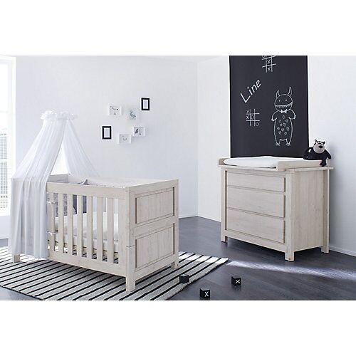 Pinolino Sparset LINE breit, (Kinderbett und Wickelkommode), grau