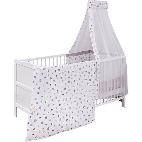 Urra Kinderbett komplett, Mond & Sterne, 70 x 140 cm weiß