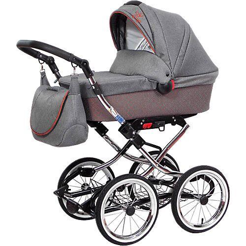 Zekiwa Kombi Kinderwagen Luxus Complete, Brokat grau