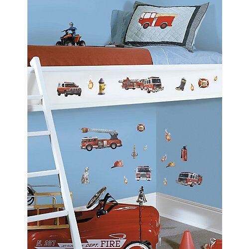 RoomMates Wandsticker Feuerwehr, 22-tlg. rot