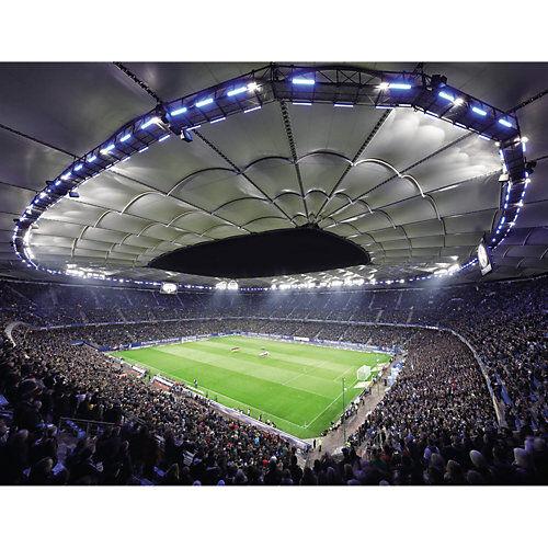 Fußballverein Hamburger SV Fototapete Hamburger SV im Stadion bei Nacht - 336x260 cm mehrfarbig