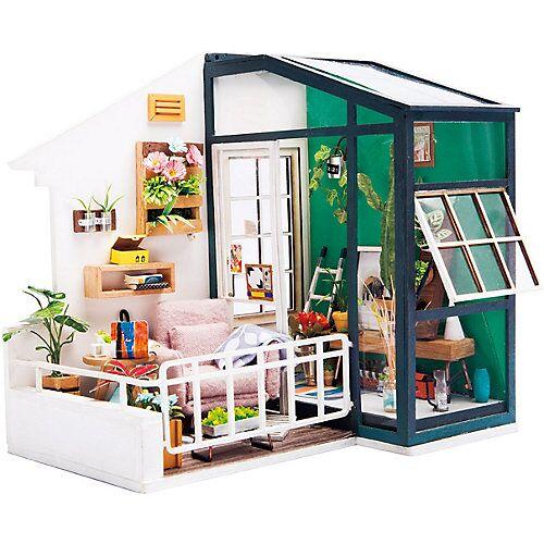 Balcony Daydreaming - 3D-Holzpuzzle Miniaturhaus-Bastelset, 80 Teile bunt
