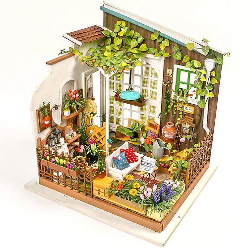 Miller's Garden - 3D-Holzpuzzle Miniaturhaus-Bastelset, 210 Teile bunt