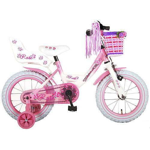 Volare Rose Kinderfahrrad - Mädchen - 14 Zoll - Pink Weiß - weiß