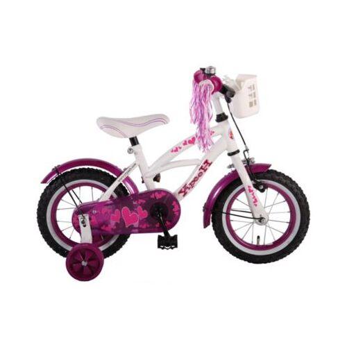 Volare Heart Cruiser Kinderfahrrad - Mädchen - 12 Zoll - Weiß Lila weiß