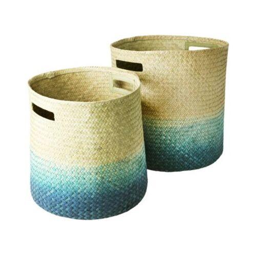 rice 2er-Set Seegras Aufbewahrungskörbe blau/beige