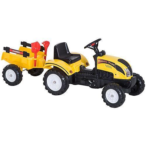 HOMCOM Kinder Trettraktor mit Anhänger gelb